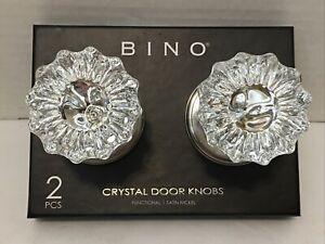 New*2 (Set/Pair of 2) BINO Crystal Door Knob/Knobs in Satin Nickel