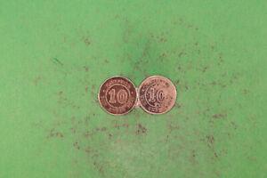 Mauritius 10 Cents 1878 selten + 1886 beide fvz hübsche Qualität