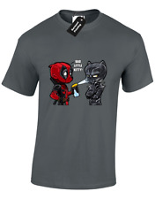 BAD LITTLE KITTY MENS T-SHIRT DEADPOOL BLACK FUNNY PANTHER WADE JOKE (COLOUR)