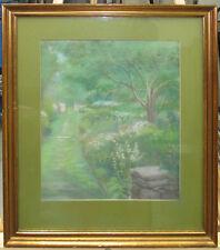 Walter Pleuthner 1920s Impressionist Garden Pastel Listed New York Artist
