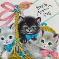 Vintage Mid Century Greeting Card Hallmark Cute Kittens Cats In A Basket Ribbons