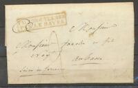 1832 Lettre MARTINIQUE au dos 44mm + Pays d'OUTREMER/PAR LE HAVRE X4115