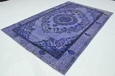 Dekorativ Vintage Teppich modern  300x190 lila edel 3D Relief handgeknüpft T3079