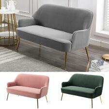 1/2 Seater Velvet Tub Armchair Upholstered Chair Sofa Wing Back Gold Legs Lounge