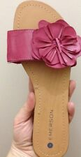 Lds Sz 7/8 Pink Lds Slip On Slides Sandals Scuffs With Flower Detail New