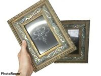 D.L.& Co. Frames Picture SET 2 - 4×6 Wooden ORNATE Gems Flowers Blue GREEN gold