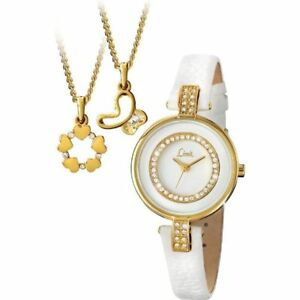 Limit White Dial White Strap Ladies Watch With Gold Pendant Gift Set 6014G