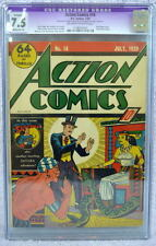 ACTION COMICS #14 CGC 7.5 SUPERMAN 1939 Off White/White Pgs 1st X-Ray Vision?