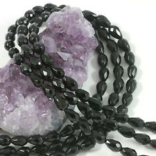 """6x9mm Faceted Teardrop Black Onyx Gemstone Loose Beads 15.5"""""""