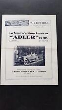 Adler auto catalogo produzione 1914 depliant originale italiano genuine brochure