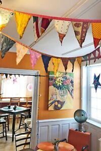 Handmade Multicolor Indian Old Recycled Silk Sari Bunting 11 Flags Garden Decor