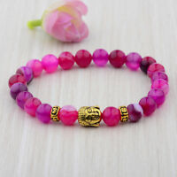 Natural Gemstone Pink Agate Beads Buddha Head Beaded Women Fashion Bracelets