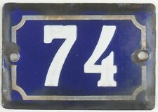 Cute old blue French house number 74 door gate plate plaque enamel metal sign