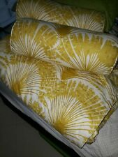 Twin Yellow Palm Print Bedspread With 2 Matching Bolsters