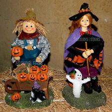 Vintage Fabric Mache Witch & Scarecrow Figurines Halloween decoration rare cute