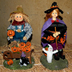 "FABRIC MACHE WITCH & SCARECROW FIGURE SET 13"" Halloween decor vintage rare cute"