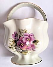 Baum Bros Procelain Basket w/Handle Purple Florals Summer Flowers Collection