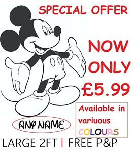 LARGE PERSONALISED MICKEY MOUSE WALL STICKERS KIDS WALL ART DECAL BEDROOM