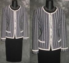 BEAUTIFUL St John collection jacket fringe navy blue knit suit blazer size 8