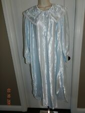 NWOT Barbizon Embroidery Blue Satin Cuddleskin LACE Nightgown Gown L Large