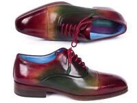 Paul Parkman Men's Captoe Oxfords Multicolor Handmade Shoes