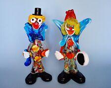 Vintage Murano Vetreria Desigh Art Glass Pair of Musician Clowns