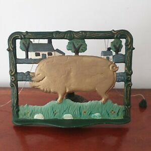 A Vintage Cast Iron/Metal Farmhouse Style Recipe Book Stand with Painted Pig