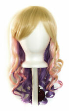 20'' Layered Loose Curly Cut w/ Long Bangs Blonde, Pink and Lavender Purple Wig