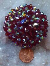 Cranberry Red Aurora Borealis Crystal Bead Pin Brooch BIG Gaudy