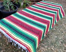 Mexican Blanket Falsa Rasta Green Red and Yellow Southwestern Beach Yoga Blanket