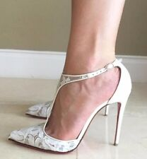 Christian Louboutin SALONU 100 White Lace Leather Wedding Pumps Heels Shoes 39