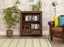 Mayan Solid Walnut Dark Wood Low 2 Drawer Bookcase