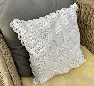 A PAIR of Handmade Crocheted Cushion Covers | Ivory | 14 in square