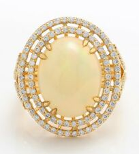 6.30 Ct Natural Ethiopian Opal and Diamonds in 14K Solid Yellow Gold Women Ring