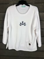 Anthony Resort West 1200 White Embroidered Anchor 3/4 Sleeve Top Women's XL