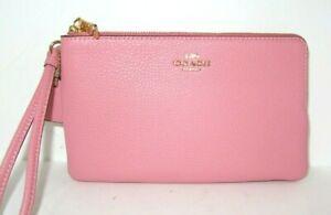 Coach Bubblegum Pink Pebbled Leather Large Double Zip Wristlet Wallet 6644 NWT