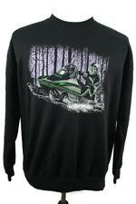 🔴 Vintage 90s Arctic Cat Sweatshirt Black Chris Burandt Green Snowmobile XL