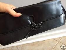 FURLA BLACK LEATHER CLUTCH SHOULDER BAG MADE IN ITALY 100% Donate CAT RESQ