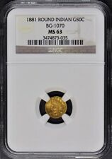 1881 California Fractional Gold BG-1070 G50C NGC MS63 Round Indian
