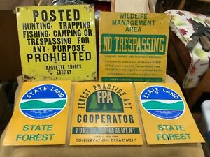 5 Vintage Posted Forest State Land Signs FPA Hunting Trapping Fishing New York