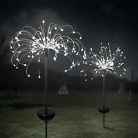 LED Solar Powered Firework Starburst Stake Light Warm White Garden Outdoor Light