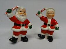 Vtg Christmas Decoration Santa Claus Suit Mrs Figure Salt Pepper Shaker Napco ✔
