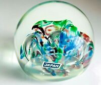 Vintage  Millefiori, Controlled Bubble Glass  Paperweight  JAPAN With Label