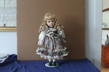 """Vintage Leonard collection porcelain doll """"Wendy"""" clothed with shoes on stand"""