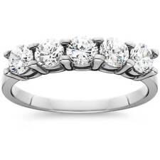 TCI cinco Piedra Genuino Diamante Redondo Aniversario De Bodas Anillo 14k Oro Blanco