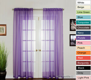 NEW Fashion Sheer Voile Curtains Rod Pocket PAIR 2x140W x 213 230L