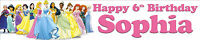 DISNEY PRINCESS CHARACTERS PERSONALISED BIRTHDAY BANNERS PACK OF TWO