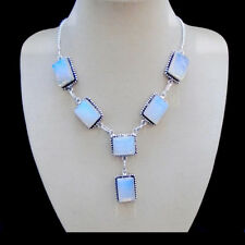 Opalglas, Schmuckset, blau Set Halskette, Collier Ohrringe, Silber plattiert neu