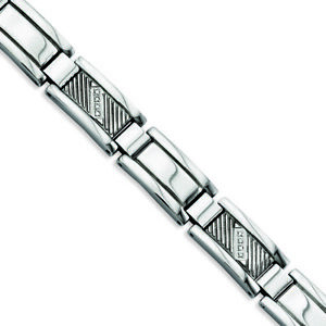 """Chisel Stainless Steel Textured & Polished w/Diamonds 8.5in Bracelet 8.5"""""""