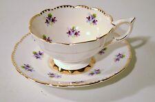 Sweet Violets Royal Stafford Bone China England Tea Cup Saucer Set Gold Trim